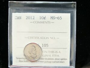 2012   CANADIAN TEN CENT   ICCS GRADED MS 65