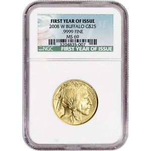 2008 W AMERICAN GOLD BUFFALO BURNISHED 1/2 OZ $25   NGC MS69 FIRST YEAR OF ISSUE