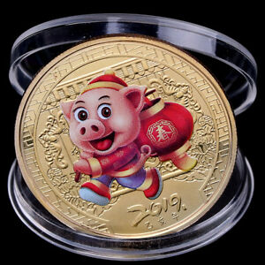 2019 PIG SOUVENIR COIN GOLD PLATED CHINESE ZODIAC COMMEMORATIVE COIN LUCKY HEP