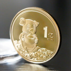 2019 LUCKY PIG COMMEMORATIVE COIN CHINESE ZODIAC GOLD PLATED COIN NEWYEAR PHEP