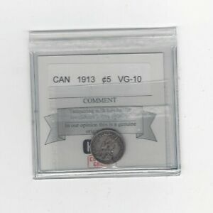 1913    COIN MART GRADED CANADIAN  5 CENT   VG 10