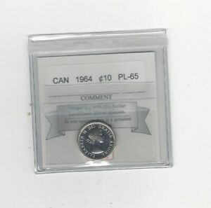 1964  COIN MART  GRADED CANADIAN  10  CENT   PL 65