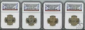 LOT OF 4: 2007 GEORGE WASHINGTON $1 MISSING EDGE LETTERING MS65 MINT ERROR