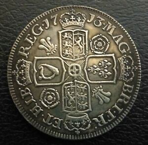 NICE  QUEEN ANNE 1713 POST UNION ROSES & PLUMES CROWN IN GOOD FINE