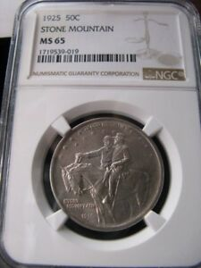1925 SILVER  NGC GRADED  MS 65   USA 50 STONE MOUNTAIN HALF DOLLAR