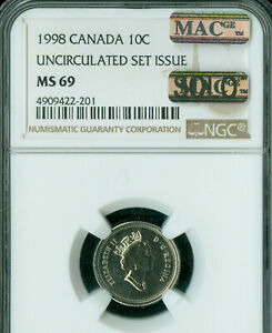 1998 CANADA 10 CENTS NGC MAC MS 69 PQ SOLO FINEST GRADE SPOTLESS