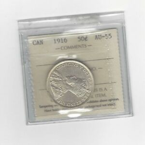 Click now to see the BUY IT NOW Price!   1916   ICCS GRADED CANADIAN SILVER 50 CENT   AU 55