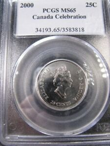 Click now to see the BUY IT NOW Price!   2000 CELEBRATION  JULY    PCGS GRADED CANADIAN  25 CENT  MS 65