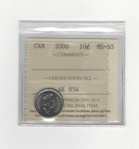 2000   ICCS GRADED CANADIAN  10  CENT   MS 65