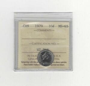 1979  ICCS  GRADED CANADIAN  10  CENT   MS 65