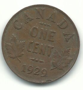 VERY FINE VF CONDITION 1929 CANADA SMALL ONE 1 CENT COIN AGT417