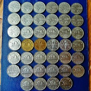 40 CANADA 5 CENTS 1922 1959 ALL DIFFERENT NO 1925 OR 1926 FOUR VARIETIES