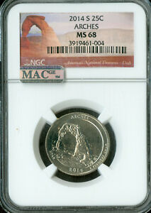 Click now to see the BUY IT NOW Price! 2014 S ARCHES QUARTER NGC MAC MS68 PQ FINEST REGISTRY POP 11 SPOTLESS