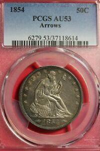 1854 AU53 SEATED LIBERTY HALF DOLLAR PCGS CERTIFIED GRADED AUTHENTIC OCE 166