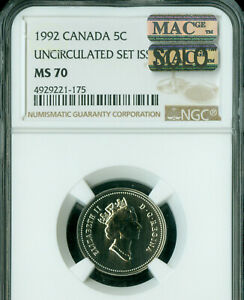 Click now to see the BUY IT NOW Price! 1992 CANADA 5 CENTS NGC MS70 MAC SOLO FINEST GRADED MAC SPOTLESS