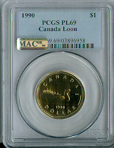 1990 CANADA $1 LOON  PCGS MAC PL 69 PQ FINEST GRADED  SOLO FINEST SPOTLESS