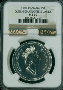 Click now to see the BUY IT NOW Price! 1999 CANADA QUEEN CHARLOTTE ISLANDS $1 DOLLAR NGC MS69 PQ MAC FINEST SPOTLESS