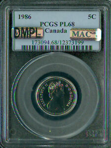 Click now to see the BUY IT NOW Price! 1986 CANADA 5 CENTS PCGS MAC PL68 DMPL PQ SOLO FINEST REGISTRY  SPOTLESS