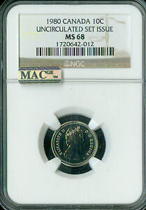 1980 CANADA 10 CENTS NGC MAC MS68 PQ  2ND FINEST REGISTRY SPOTLESS