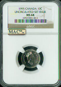 Click now to see the BUY IT NOW Price! 1995 CANADA 10 CENTS NGC MAC MS68 PQ 2ND FINEST REGISTRY SPOTLESS