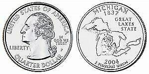 2004 P MICHIGAN STATE QUARTER BU BRILLIANT UNCIRCULATED COIN
