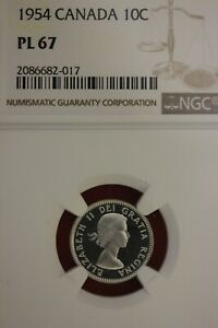 1954 PL 67 CANADA DIME NGC GRADED CERTIFIED AUTHENTIC SLAB OCE 924