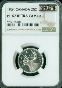 Click now to see the BUY IT NOW Price! 1964 CANADA 25 CENTS NGC PL67 ULTRA HEAVY CAM 2ND FINEST GRADE MAC SPOTLESS