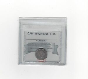 1872H COIN MART GRADED CANADIAN  5 CENT   F 15