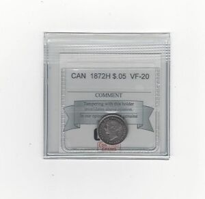 1872H COIN MART GRADED CANADIAN  5 CENT   VF 20