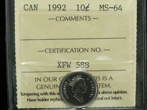 1992   CANADIAN TEN CENT   ICCS GRADED MS 64
