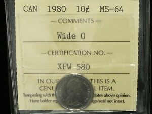 1980   WIDE 0   CANADIAN TEN CENT   ICCS GRADED MS 64