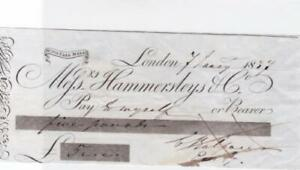 GREAT BRITAIN  LONDON MESSERS HAMMERSLEY 1837 BANK CHEQUE REF R15893