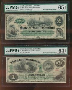 SOUTH CAROLINA $1.00 & $2.00     RADAR PAIR 1872 BROKEN BANKNOTES  PMG CU
