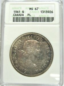 Click now to see the BUY IT NOW Price! ELIZABETH II 1961 CANADA SILVER DOLLAR   HIGH GRADE   ANACS MS67