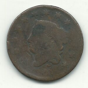 A VINTAGE 1830 CORONET HEAD LARGE CENT OLD US COIN MAR113