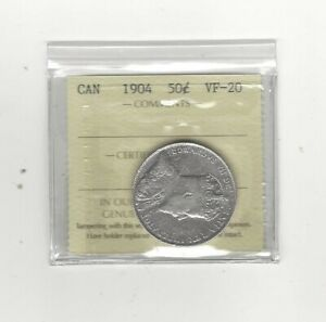 1904  ICCS GRADED CANADIAN 50 CENT   VF 20