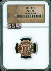 2011 D LINCOLN LOGO CENT SHIELD NGC MAC MS67 RED PL 2ND FINEST MAC SPOTLESS