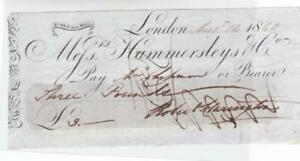 GREAT BRITAIN PALL MALL 1840 BANK CHEQUE REF R15901
