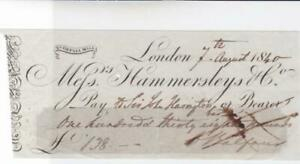 LONDON PALL MALL VICTORIAN 1840 BANK CHEQUE REF R15904