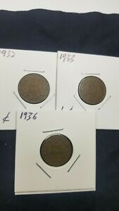 CANADA SMALL CENT PENNY LOT 1932 1933 1936