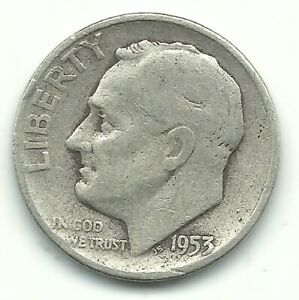 A VINTAGE GOOD/VG 1953 P ROOSEVELT SILVER DIME OLD US COIN OCT370