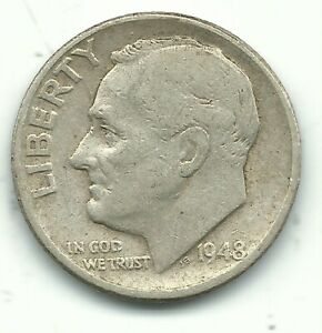 A VINTAGE VG GOOD 1948 P ROOSEVELT SILVER DIME OLD US COIN OCT374