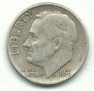 FINE CONDITION 1956 P ROOSEVELT SILVER DIME OLD US COIN OCT382