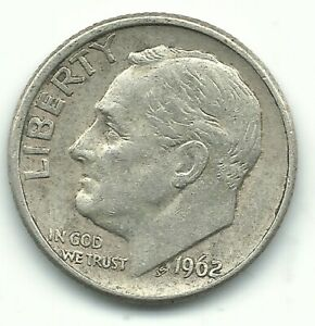 VINTAGE XF CONDITION 1962 D ROOSEVELT SILVER DIME OLD US COIN OCT388