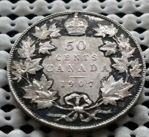 Click now to see the BUY IT NOW Price! 1907 CANADA SILVER HALF DOLLER 50 CENT KING EDWARD VII COIN AU  BEAUTY