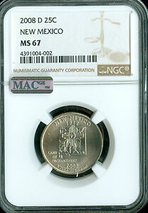 2008 D NEW MEXICO QUARTER NGC MS67 PQ 2ND FINEST BUSINESS STRIKE MAC SPOTLESS
