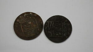 NETHERLANDS USA COLONIAL DUTCH NY SHIPWRECK DUIT 1750/54 B18 YI27