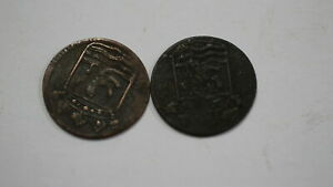 NETHERLANDS USA COLONIAL DUTCH NY SHIPWRECK DUIT 1753/54 B18 YJ43