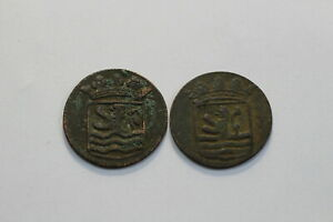 NETHERLANDS USA COLONIAL DUTCH NY SHIPWRECK DUIT 1736/54 B18 XJ30