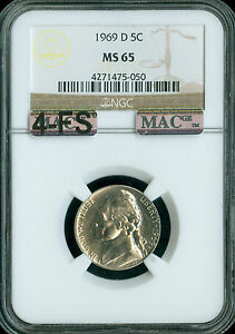 Click now to see the BUY IT NOW Price! 1969 D JEFFERSON NICKEL NGC MAC MS65 4FS 2ND FINEST REGISTRY $20 000.00 IN FS
